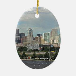 Elitch Gardens and the Downtown Denver Colorado Sk Ceramic Ornament