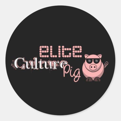 Elite Culture Pig Round Sticker