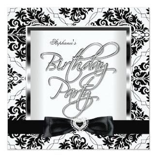 Elite Damask Silver Black White Birthday Party 13 Cm X 13 Cm Square Invitation Card