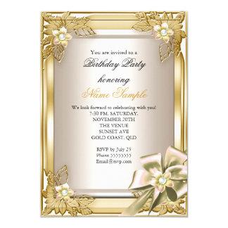 Elite Elegant Birthday Party Gold Cream Bow L 13 Cm X 18 Cm Invitation Card