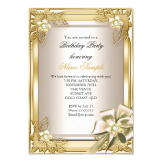 Elite Elegant Birthday Party Gold Cream Bow L 5x7 Paper Invitation Card