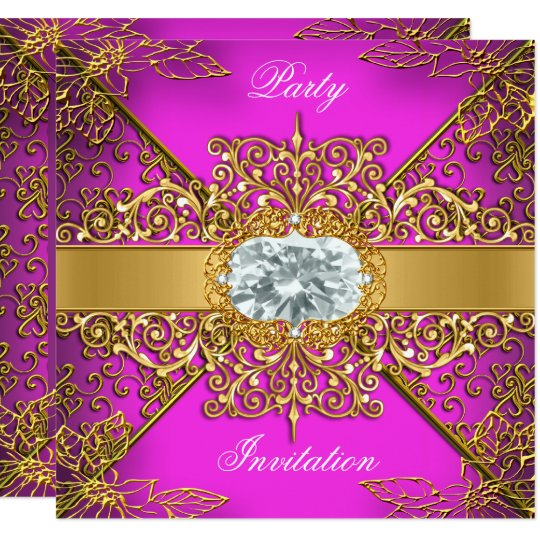 Elite Hot Pink Gold Damask Birthday Party Card