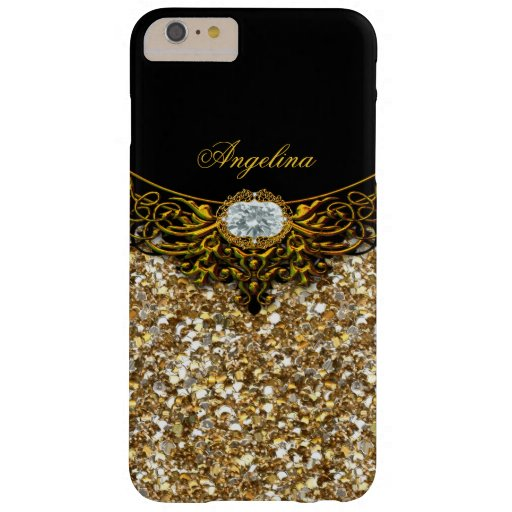 Elite Regal Gold Black Diamond Jewel Barely There iPhone 6 Plus Case