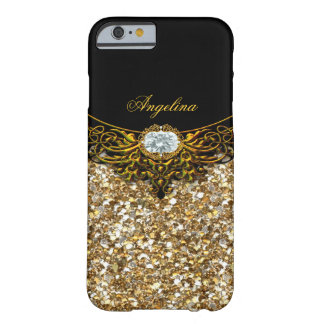 Elite Regal Gold Black Faux Diamond Jewel Barely There iPhone 6 Case