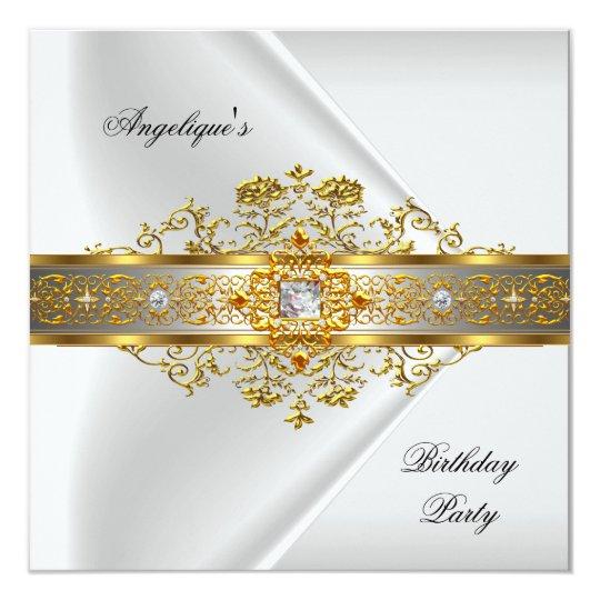 Elite White Gold Black Birthday Party Card