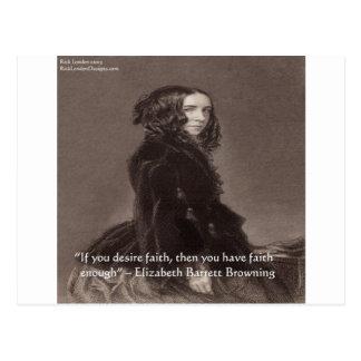 Elizabeth Barrett Browning Faith Desire Quote Postcard