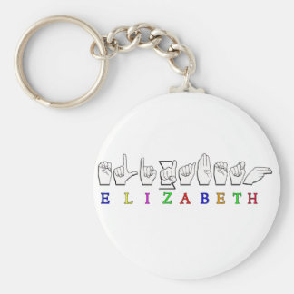 ELIZABETH  FINGERSPELLED ASL SIGN NAME MALE KEY RING