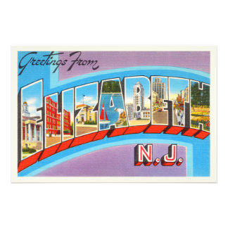 Elizabeth New Jersey NJ Vintage Travel Postcard- Photo Art