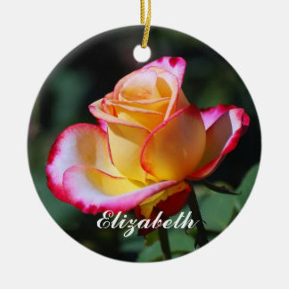 Elizabeth Red and Yellow and Pink Roses Ornament