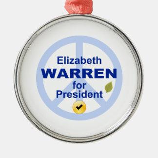 Elizabeth Warren for President Silver-Colored Round Decoration