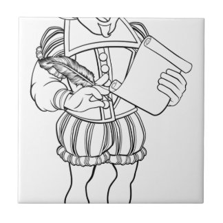 Elizabethan Shakespeare Cartoon Character Ceramic Tile