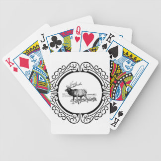 elk art in frame bicycle playing cards