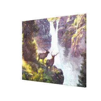 Elk At Waterfall Nature Watercolor Painting Canvas Print
