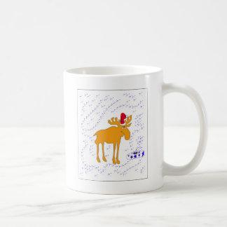 Elk big in the Christmas hat Mugs