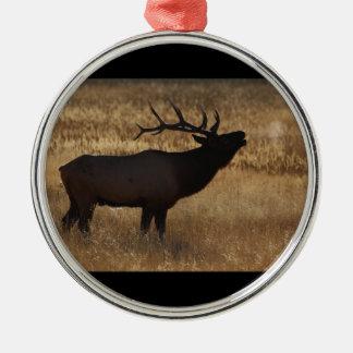 elk bugle and steam metal ornament
