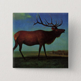 Elk By Albert Bierstadt 15 Cm Square Badge