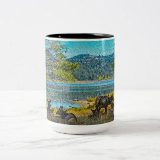 Elk by the Lake Two-Tone Coffee Mug