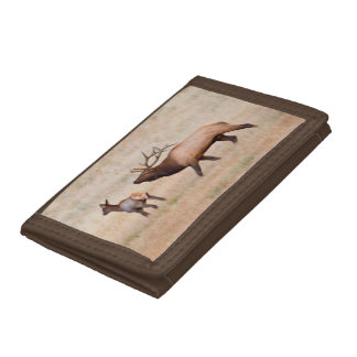 Elk (Cervus Elephus) Bull Herding Harem 2 Tri-fold Wallet