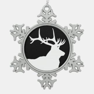 Elk Head Snowflake Pewter Christmas Ornament