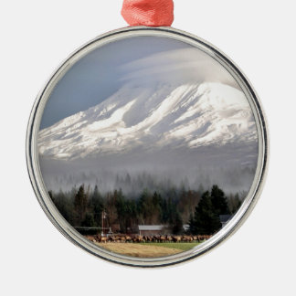 Elk Heard Gathers at the Base of Mt. Adams Silver-Colored Round Decoration