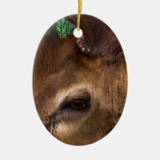 Elk in the trees ceramic oval decoration