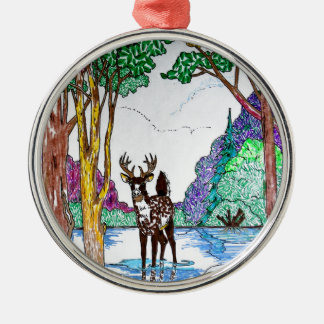 ELK IN WOODLAND Silver-Colored ROUND DECORATION