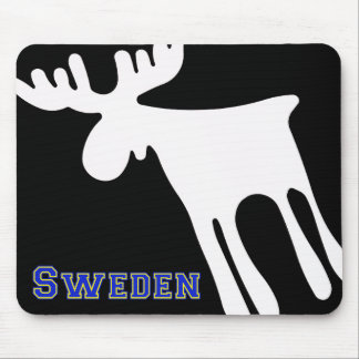 Elk/Moose, white, Sweden Mouse Pad