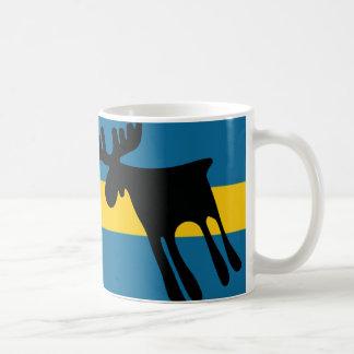Elk/Moose with the Swedish flag Basic White Mug