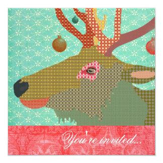 Elk Ornament Turquoise Red 13 Cm X 13 Cm Square Invitation Card