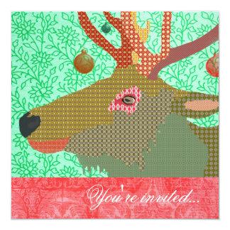 Elk Ornament Turquoise Red II 13 Cm X 13 Cm Square Invitation Card
