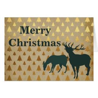 Elk | Reindeer with Golden Trees Merry Christmas Card