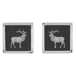 Elk Silver Glass Look Your Background Silver Finish Cuff Links