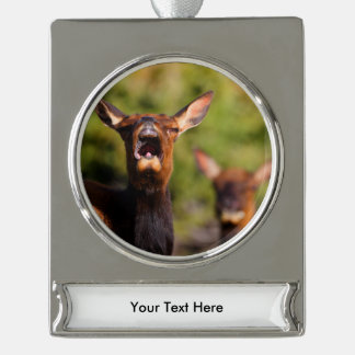 elk silver plated banner ornament