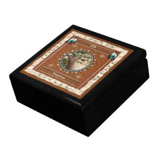 Elk  -Stamina- Wood Gift Box w/ Tile