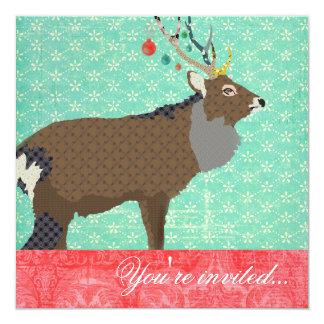 Elk Turquoise Red 13 Cm X 13 Cm Square Invitation Card