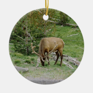 Elk With Velvet Antlers Ceramic Ornament