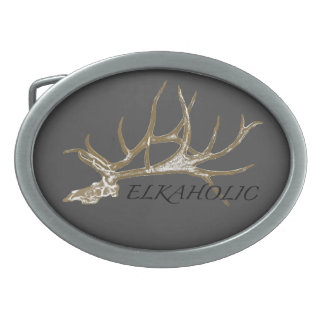 Elkaholic side view belt buckle