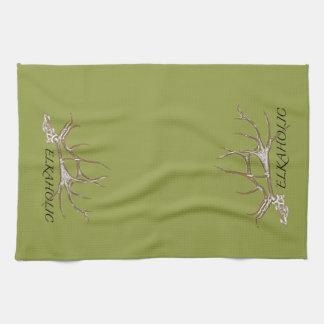 Elkaholic side view tea towel
