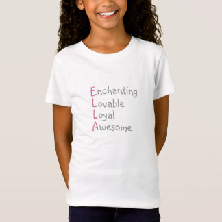 Ella - Personalized Pink Acrostic with Adjectives T-Shirt