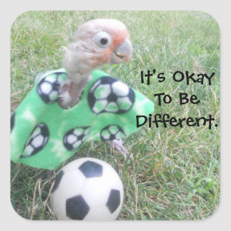 Ella Soccer It's Okay To Be Different. Square Sticker