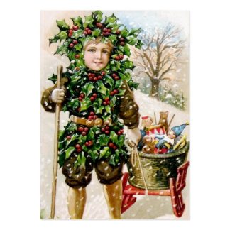 Ellen Clapsaddle: Holly Boy with Toys Business Cards