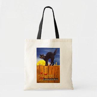 Ellen H. Clapsaddle: Black Cat on a Fence Budget Tote Bag