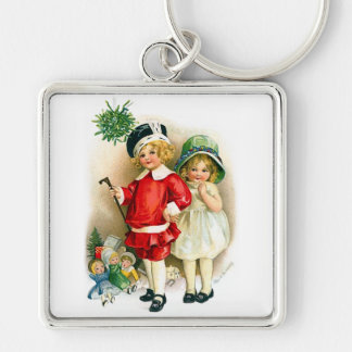 Ellen H. Clapsaddle: Boy and Girl with Toys Silver-Colored Square Key Ring