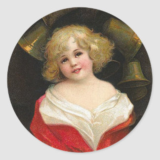 Ellen H. Clapsaddle - Christmas Girl with Bells Classic Round Sticker