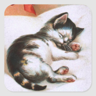 Ellen H. Clapsaddle: Christmas Kitten Square Sticker