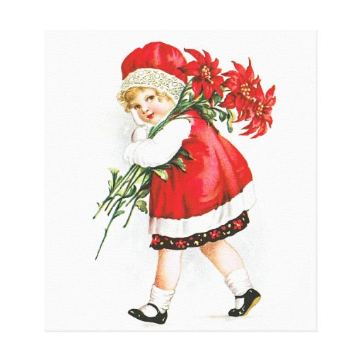 Ellen H. Clapsaddle: Girl with Christmas Flowers Gallery Wrap Canvas