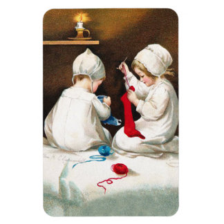 Ellen H. Clapsaddle: Girls Stitching Stockings Magnet