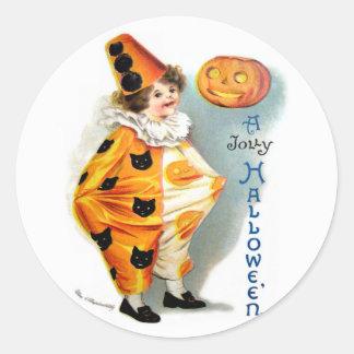 Ellen H. Clapsaddle: Halloween Harlequin Classic Round Sticker