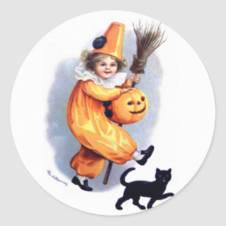 Ellen H. Clapsaddle: Halloween Harlequin with Cat Classic Round Sticker