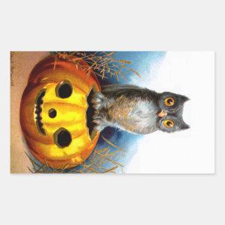 Ellen H. Clapsaddle: Halloween Owl Rectangular Sticker